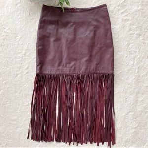 Karina Grimaldi Dylan fringe leather skirt maroon
